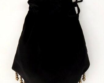Gypsy Bag with Silver Metal  Beads Hippie Bag  Boho Bead Bag  Cross Body Bag