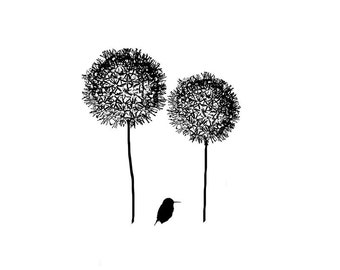 Black and White Bird Silhouette Flower Print Minimalist Nature Allium Large