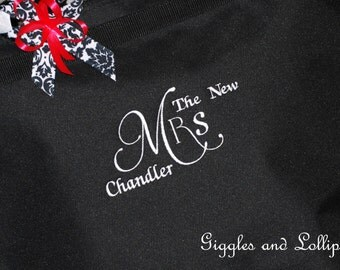 Personalized extra large New Bride tote Bag shower gift wedding gift