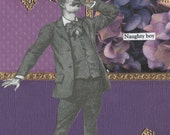 Collage Art Handmade Card Word Art  Vintage Style Whimsical Geekery Original Quirky Victorian Man -- Oh No What Did He Do