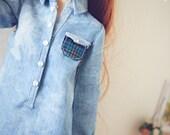 denim shirt for Minifee mnf 1/4 bjd sizes
