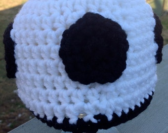 Crocheted soccer hat for babies in three sizes