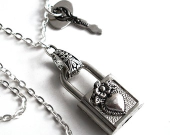 Locked Heart - Steampunk Padlock Necklace