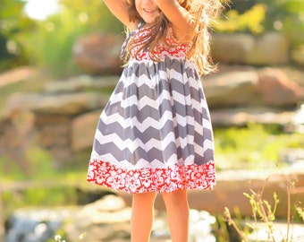 Girls Spring Dress - Chevron Dress - Grey Chevron - Birthday Dress - Toddler Girl Dress - Groovy Gurlz