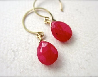 Sookie Earrings - ruby earrings, ruby gemstone earrings, july birthstone, scarlet ruby, true blood, gifts under 50, DE21