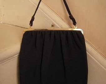 Vintage 1950s Elongated Navy Faille Purse Pocketbook Handbag with Attached Chain Purse