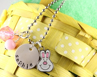 Personalized Easter Bunny Charm Necklace for Girls - Hand Stamped Rabbit Necklace - Easter Basket Gift For Children