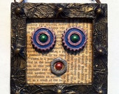 Robot Gothic Mixed Media Embellished Altered Frame with Metal Chain