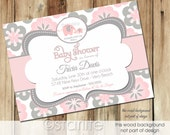 Elephant Girl Baby Shower Invitation, Pink and Gray Flowers Baby Shower Invitation Girl, Floral Baby Shower Invitation, Printable, Printed