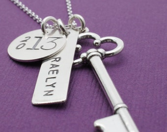 Graduation Jewelry Gifts - Personalized Key Necklace - Graduation Jewelry - Class of 2016 Personalized Necklace in Sterling Silver