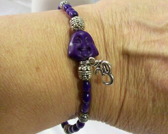 Buddha Happy Buddha Mala Japa Tibetan Turquoise Buddha Purple Wood Beads  Bracelet  Elastic Stretchy Or Adjustable Now Available