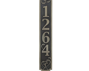 Swirls On the Vertical Address Plaque House Numbers 4x24 inches made in the USA - Four numbers