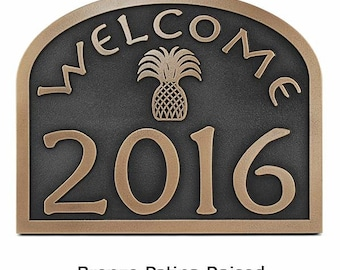 Welcome Hospitality Pineapple Home Numbers Address Sign or Plaque Custom 16 x 12.6 inches