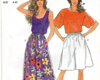 Simplicity 7096 Easy Misses Pullover Tops and Pull On Culottes Pattern Womens Sewing Pattern Size 8 10 12 14 16 18 20 Bust 31  - 42 UNCUT