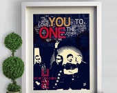 Print U2 Music Poster fine  Birthday Gift art print ONE -  U2. dark blue lyric typography  - rock band wall decor  Handmade giclee