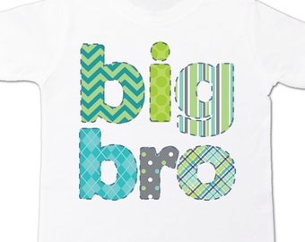 Big brother colorful stitched look pattern big bro Tshirt