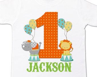 circus 1st birthday shirt - circus elephant lion theme birthday party shirt