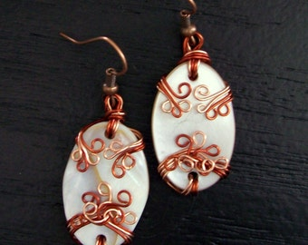 Hand Wrapped Mother of Pearl Earrings