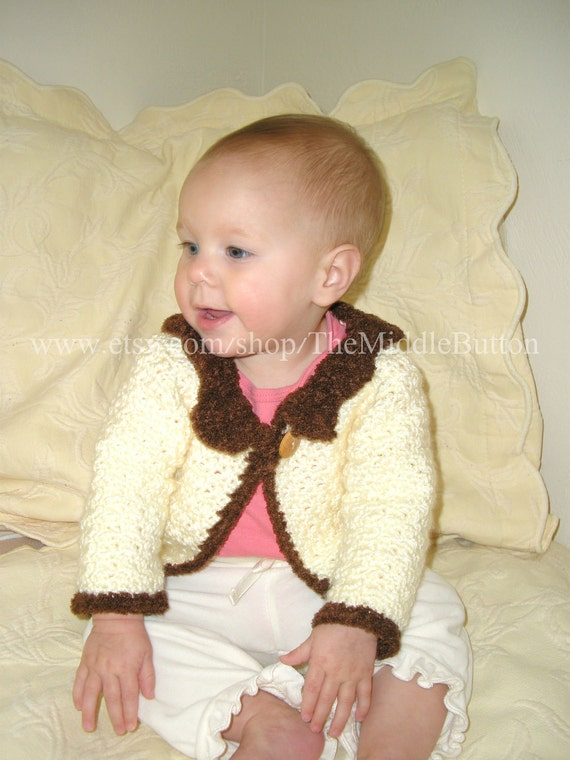 Theodora - Cabled Sweater for Girls - 6 to 9 Months - In Cream, Soil, and Bamboo