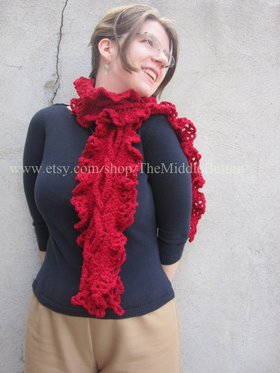 Meara - Cabled Scarf with Lace Ruffle - In Dark Scarlet