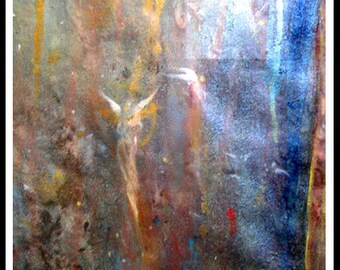 Modern art original mystical angels contemporary art abstract oil painting  free shipping Title: Ascent by Carol Lee aka Leearte