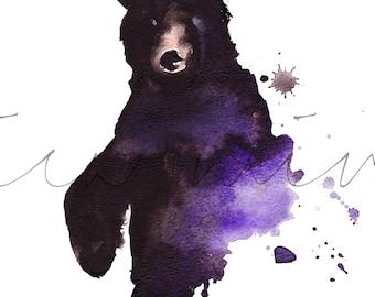 Black Water Bear, Black Bear Painting, Watercolor Bear, Statement Bear Painting, Bear Print, Purple and Black Bear, Statement Piece