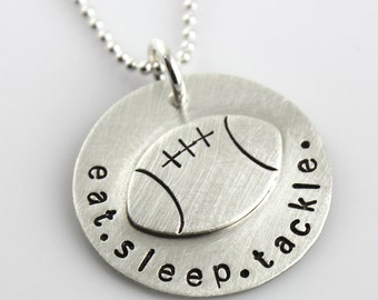 Football Necklace - Eat. Sleep. Tackle. hand stamped sterling silver necklace - football gift