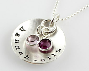 Mother's Necklace - Domed with Swarovski Crystals - Name Necklace for Mother's Day
