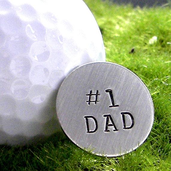 Golf Ball Marker or Pocket Token - No. 1 Dad hand stamped sterling silver