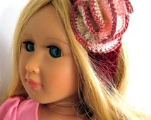 18in doll headband hand crochet with pink and cream rosette flower