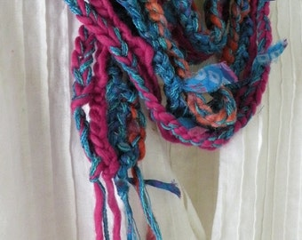 Crochet scarf, women's silk knit long skinny fashion, indie design pink teal blue brown, Bohemian life's an expedition wool i791