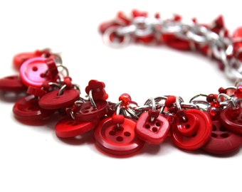 Button Charm Bracelet - Red by randomcreative on Etsy