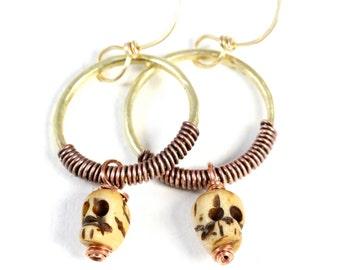 Skull Earrings Brass Hoop Earrings Skull Jewelry Rustic Earrings Halloween Jewelry Copper Earrings Brass Earrings Brass Jewelry