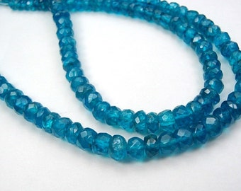 Neon Blue Apatite Gemstone Bead. Semi Precious Gemstone. Faceted Rondelle, 4.5  Strand Length Your Choice. (Fap)