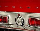 1968 Red Shelby Cobra Logo & Lettering Fine Art Print- Car Art, Antique Car, Home Decor, Nursery Decor, Wall Art, Vintage Car