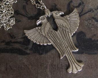 EGYPTIAN  FALCON NECKLACE - vintage silver falcon brass