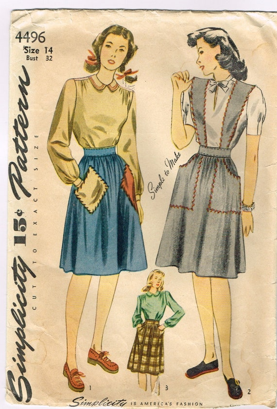 Original 1940's Pattern Featuring a Blouse, Skirt or Jumper Size 14 Bust 32 Simplicity 4496