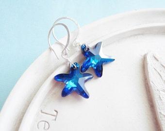 Swarovski Crystal Earrings - Starfish - Blue Teal Sterling Silver