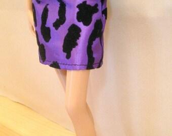 Barbie Clothes Handmade - Purple Animal Print Skirt Only - Mix n Match