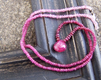 Ruby necklace | Ruby gemstone necklace | Natural Ruby necklace | Ruby briolette necklace | Faceted Ruby rondelles | Faceted ruby briolette