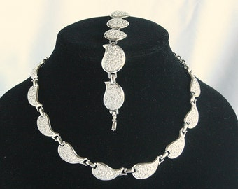 Silver Leaf Choker Bracelet Set Vintage Textured Repousse Adjustable Collar Necklace