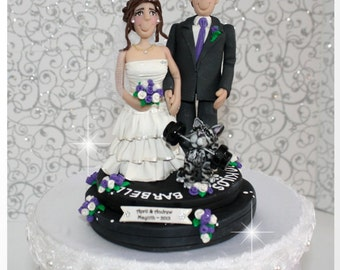 Weight Lifting Wedding Cake Topper with Cat