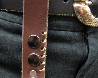 Steampunk Leather keychain utility loop with wire stitched punched hole pattern