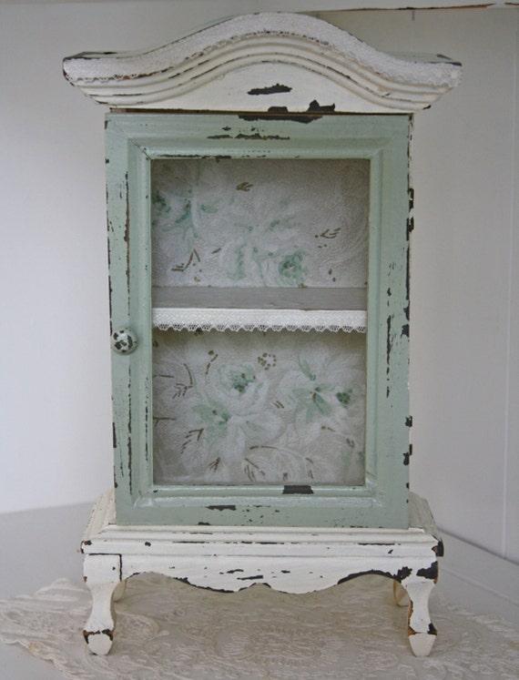 Vintage wall curio cabinet