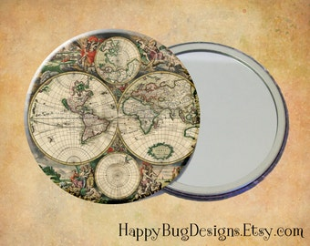 "Old World Map 2 Pocket Mirror or Magnet - 2.25"" 2-1/4 inch"