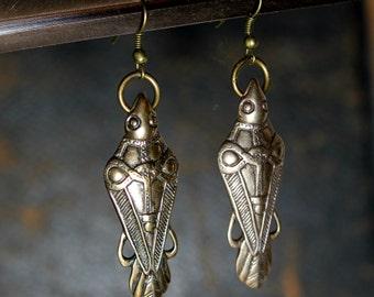 Odins Raven Earrings Ancient Bronze Odin's Ravens Viking Earrings 124