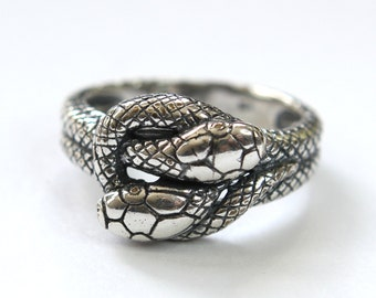 Silver Twin Snake Infinity Ring in Solid White Bronze with Sterling Overlay 240