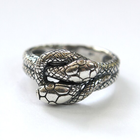silver snake infinity ring in solid white bronze with