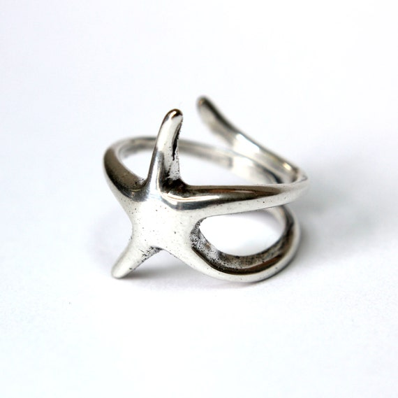 silver starfish ring in solid white bronze with sterling