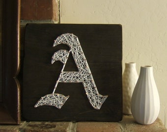 old english monogram modern string art tablet